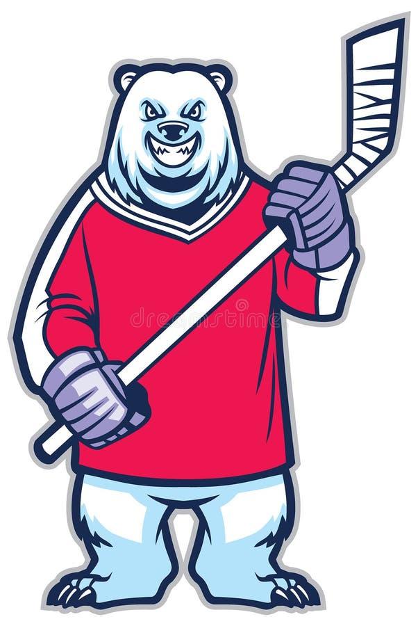 Mascote do hóquei em gelo do urso ilustração stock