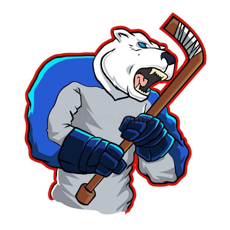 Mascote do hóquei em gelo do urso polar ilustração royalty free