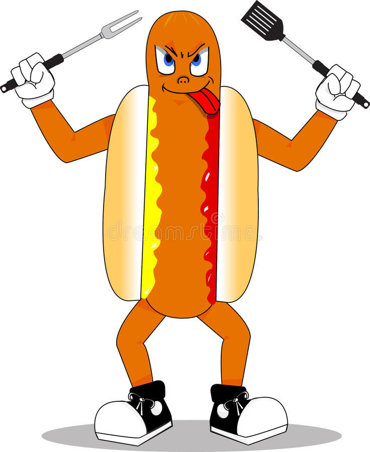 Mascote do Hotdog foto de stock royalty free