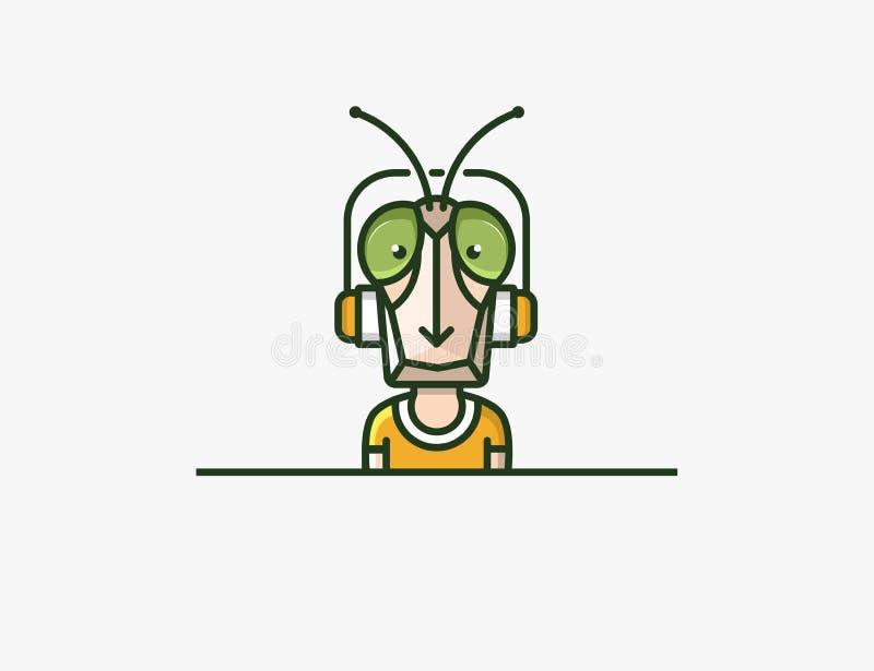 Mascote do inseto Caráter dos auscultadores ilustração do vetor