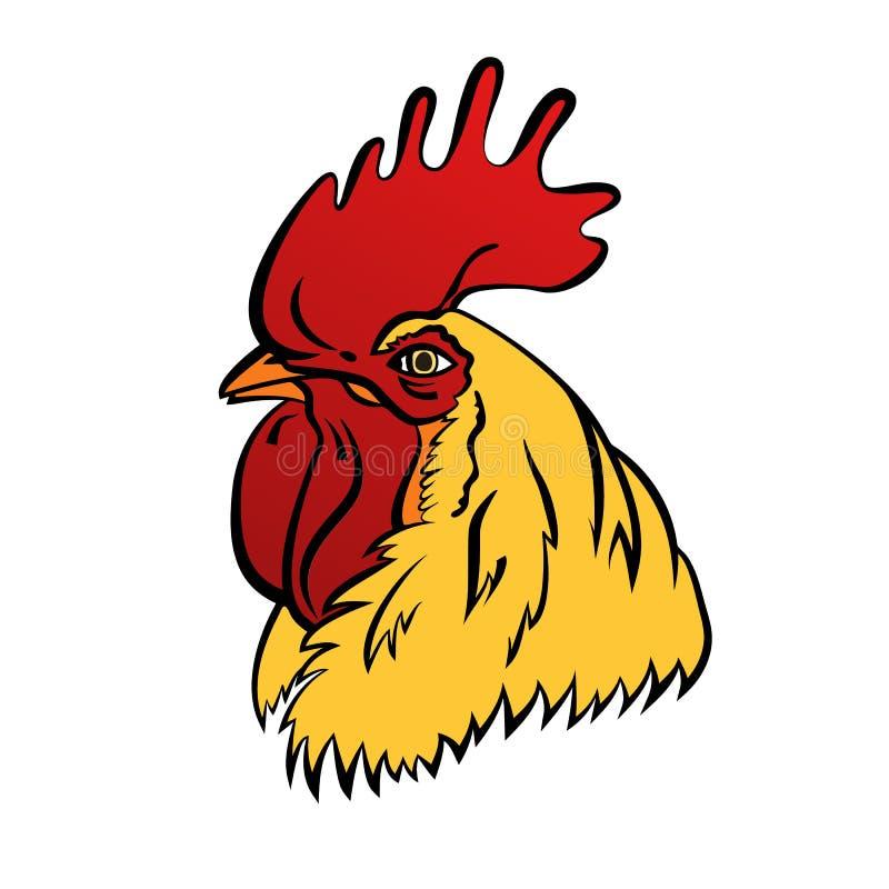 Mascote do logotipo do galo Ilustração isolada do vetor da cabeça do galo ilustração stock