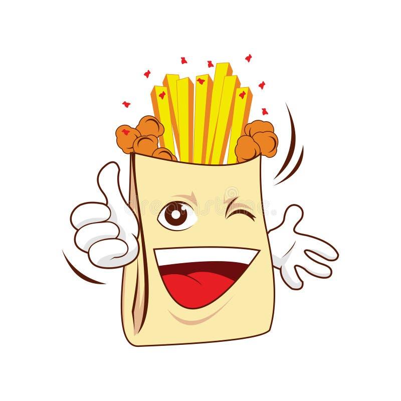 Mascote do personagem de banda desenhada da batata de batatas fritas da pipoca ilustração do vetor