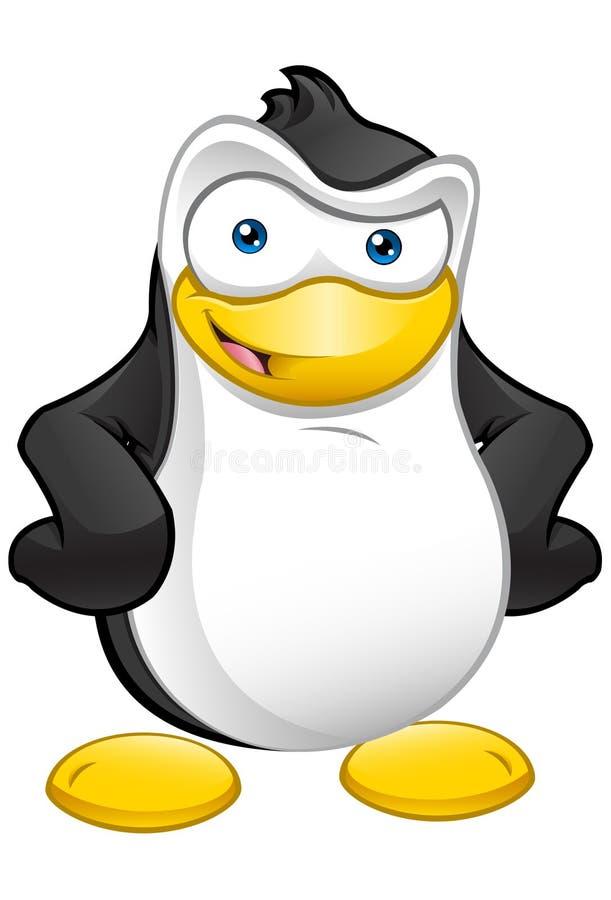 Mascote do pinguim - mãos nos quadris ilustração do vetor