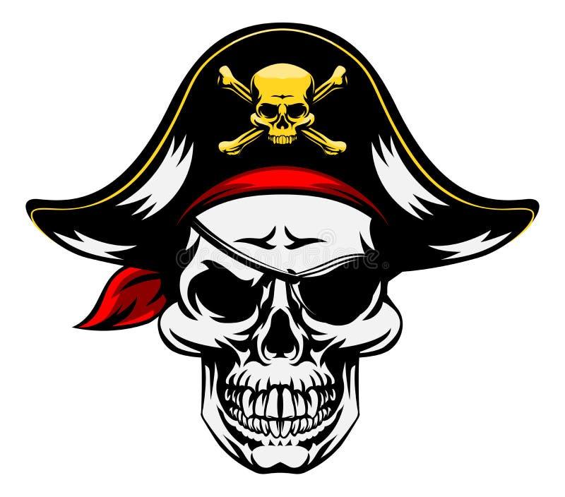 Mascote do pirata do crânio ilustração royalty free