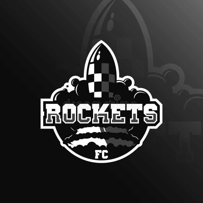 mascote do projeto do logotipo do vetor do foguete com estilo moderno do conceito da ilustração para a impressão do crachá, do em ilustração do vetor