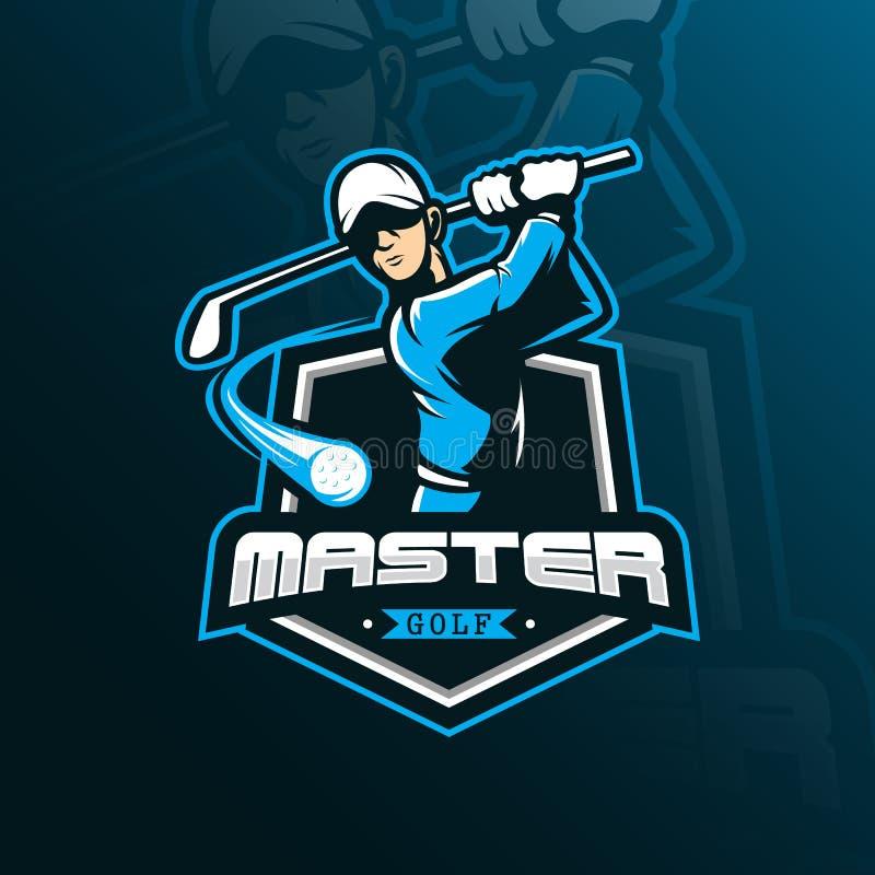 Mascote do projeto do logotipo do vetor do golfe com estilo moderno do conceito da ilustração para a impressão do crachá, do embl ilustração stock