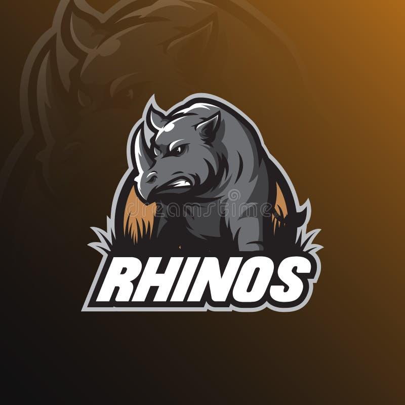 Mascote do projeto do logotipo do vetor do rinoceronte com estilo moderno do conceito da ilustração para a impressão do crachá, d ilustração do vetor