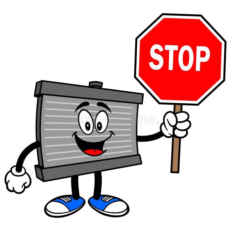 Mascote do radiador com um sinal da parada ilustração stock