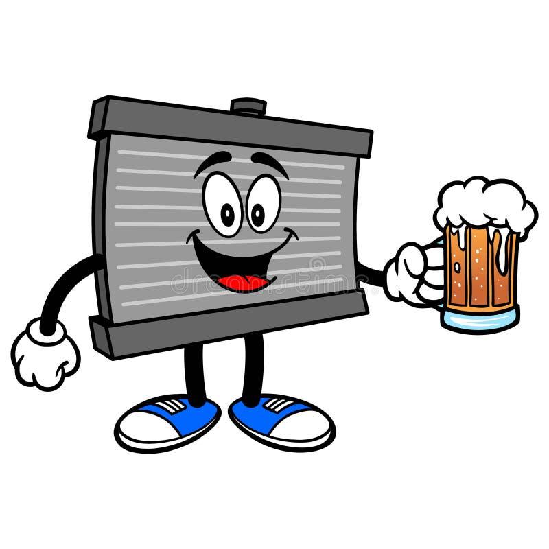 Mascote do radiador com uma cerveja ilustração royalty free