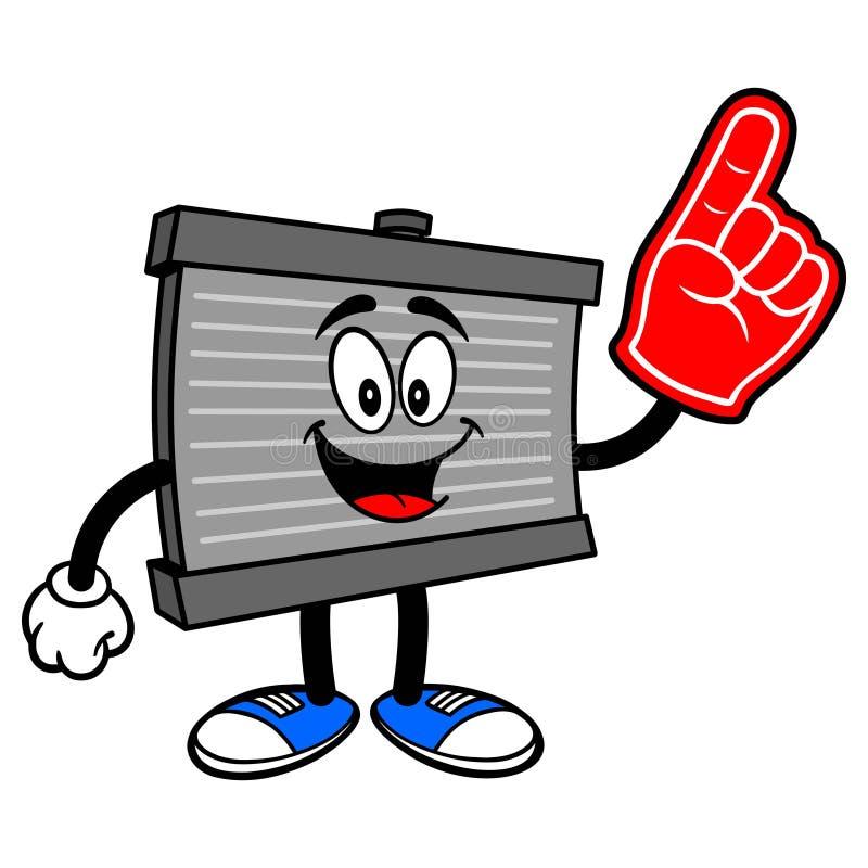 Mascote do radiador com uma mão da espuma ilustração stock