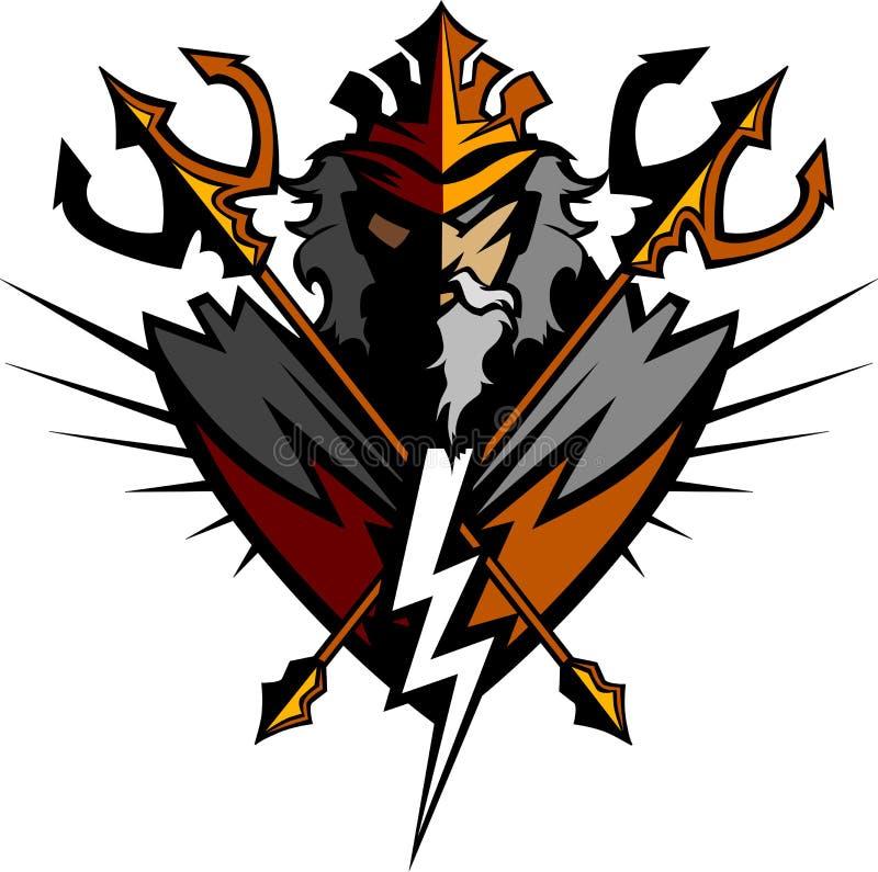 Mascote do titã com tridente e coroa ilustração royalty free