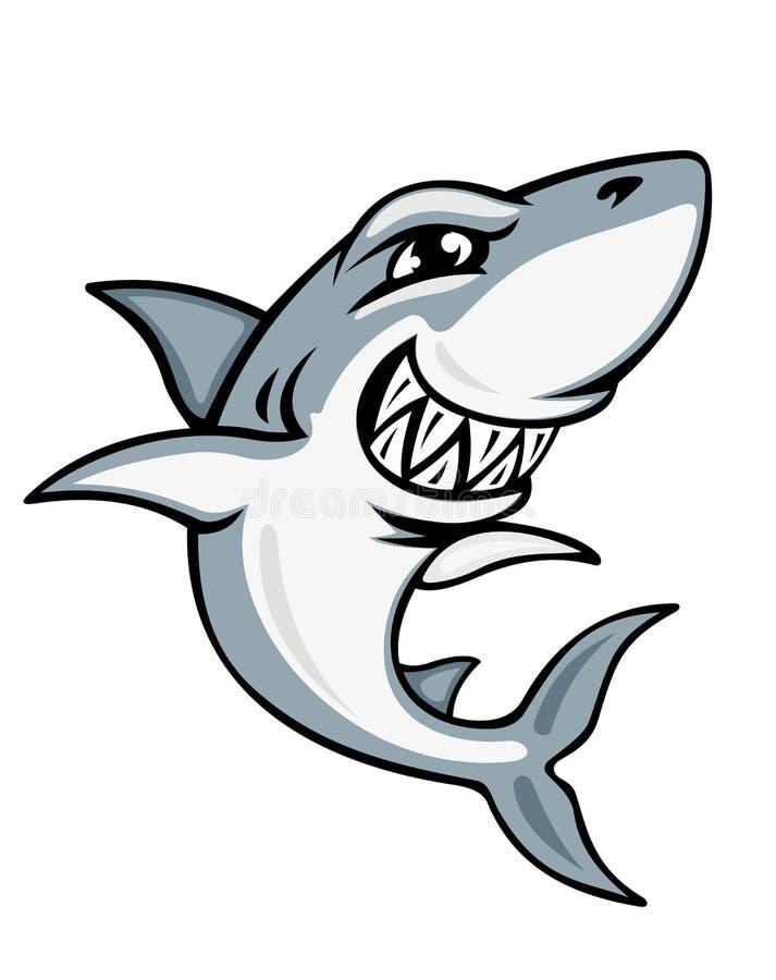 Mascote do tubarão dos desenhos animados ilustração stock