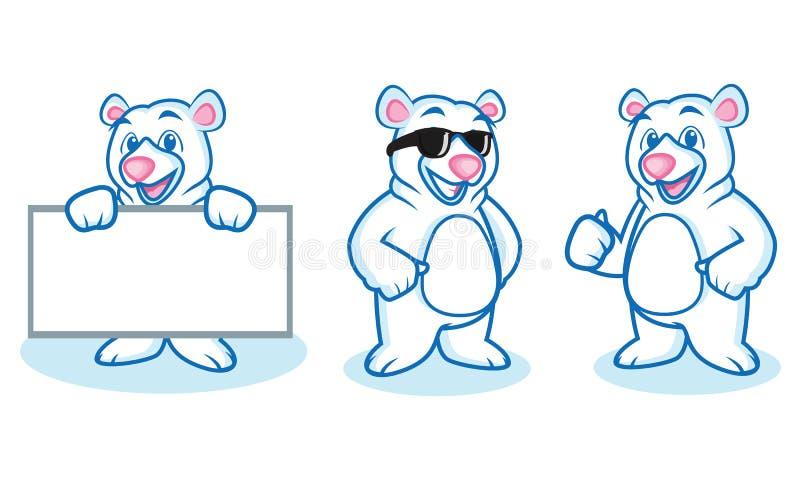 Mascote do urso polar feliz ilustração stock