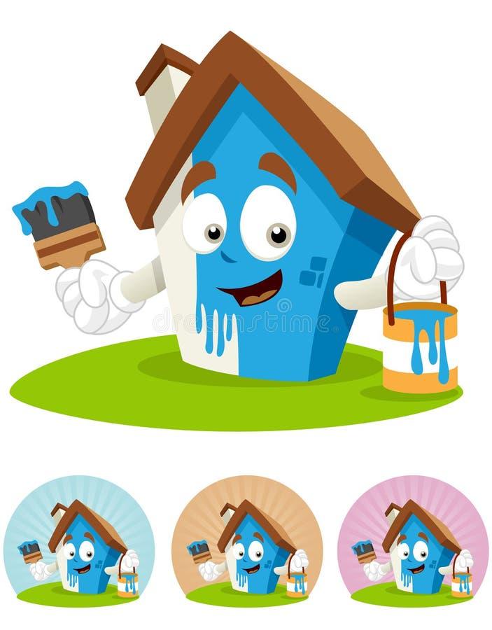Mascote dos desenhos animados da casa - pintura ilustração do vetor