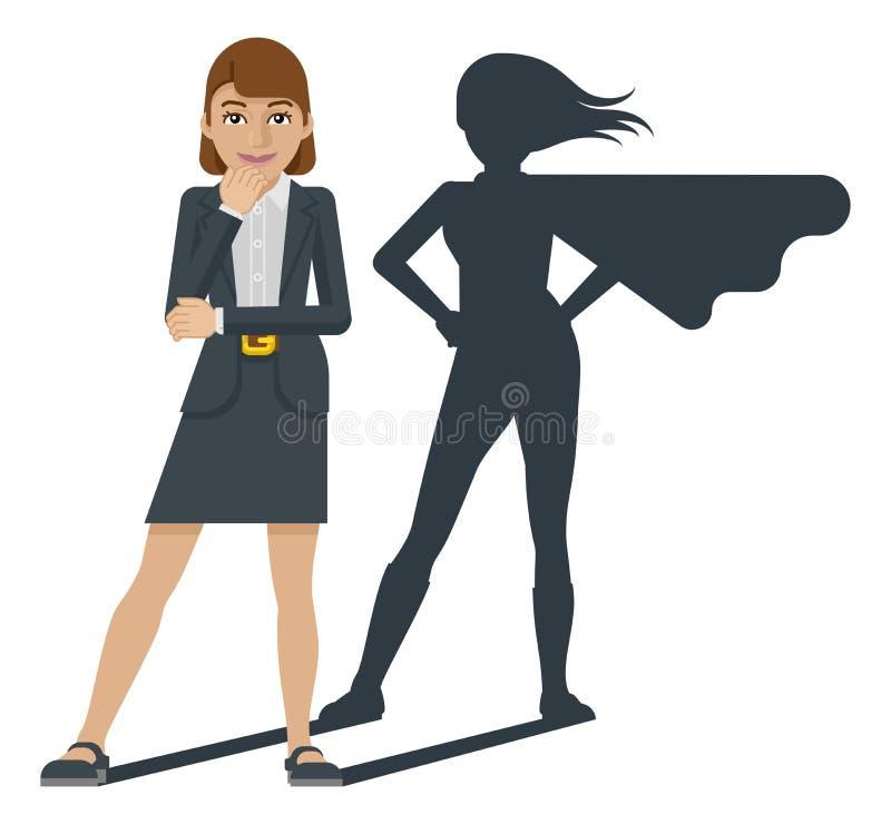 Mascote dos desenhos animados da sombra do super-herói da mulher de negócio ilustração royalty free