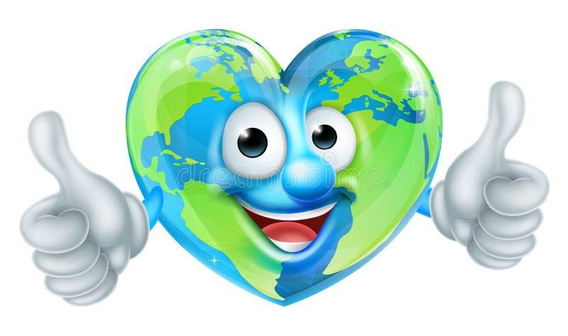 Mascote dos desenhos animados do globo do mundo do Dia da Terra do coração ilustração royalty free