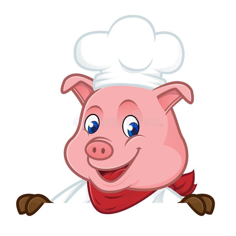 Mascote dos desenhos animados do porco do cozinheiro chefe que guarda o sinal vazio ilustração royalty free
