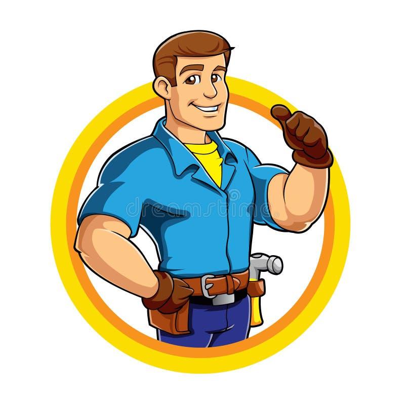 Mascote dos desenhos animados do trabalhador manual ilustração stock