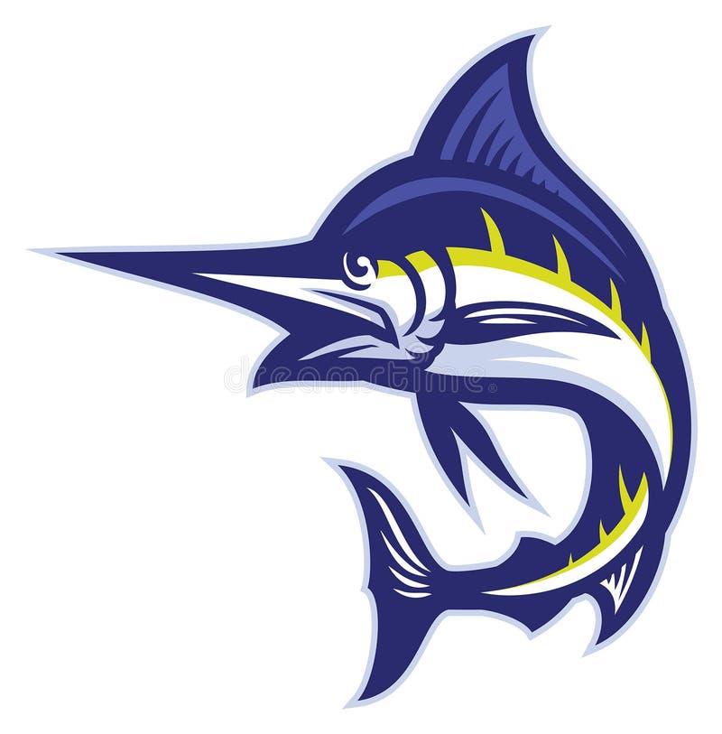 Mascote dos peixes do espadim ilustração do vetor
