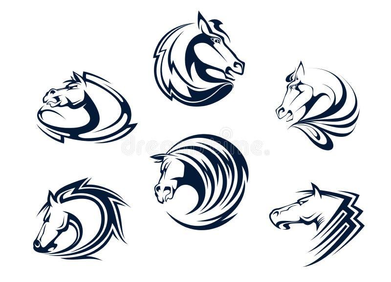 Mascote e emblemas do cavalo ilustração royalty free