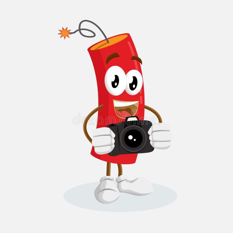Mascote e fundo da dinamite com pose da câmera ilustração stock