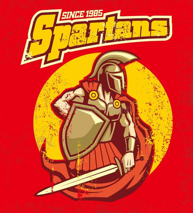 Mascote espartano do vintage ilustração do vetor