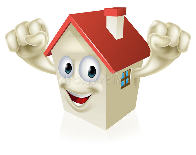 Mascote feliz da casa dos desenhos animados ilustração royalty free