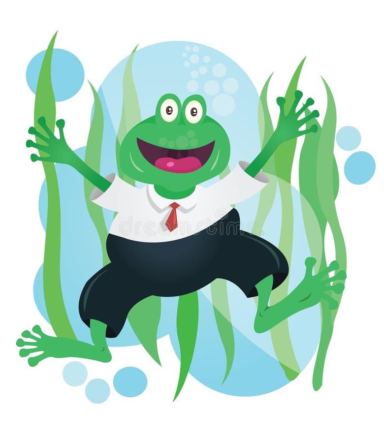 Mascote feliz da rã do negócio no terno ilustração royalty free