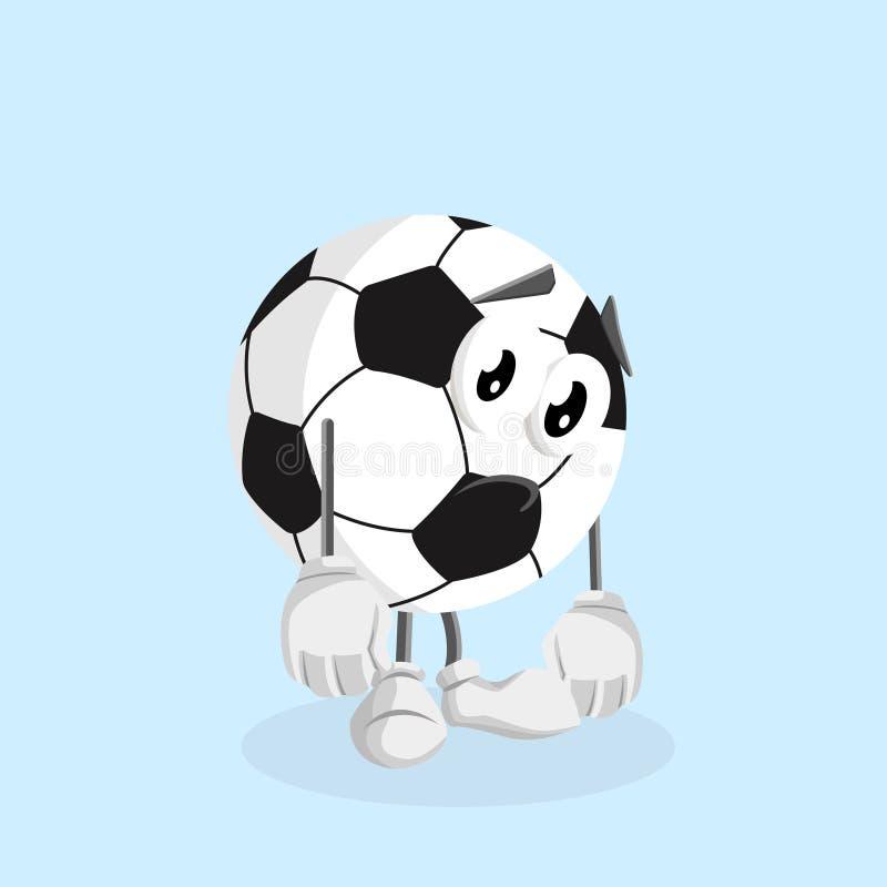 Mascote FootBall com pose triste ilustração stock