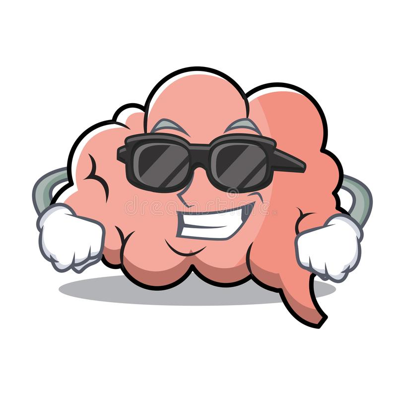 Mascote fresca super dos desenhos animados do caráter do cérebro ilustração do vetor