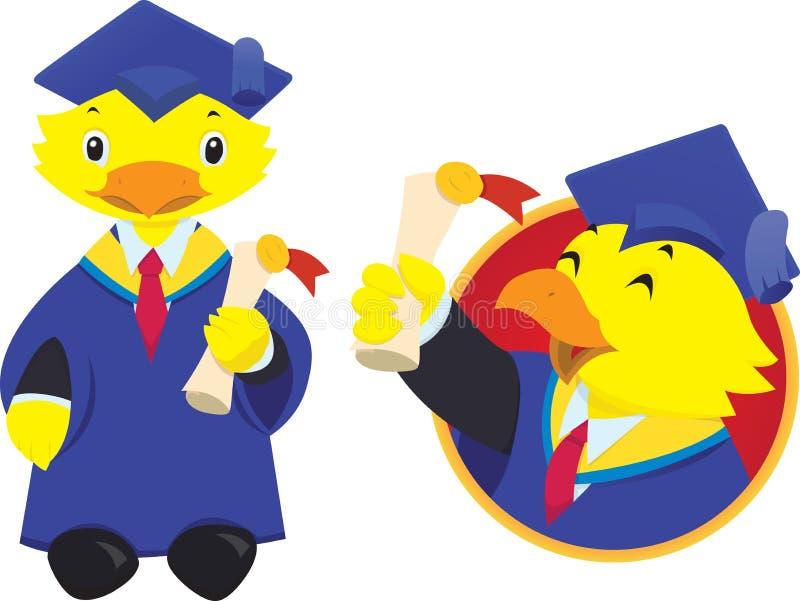 Mascote graduada da universidade do pássaro ilustração do vetor