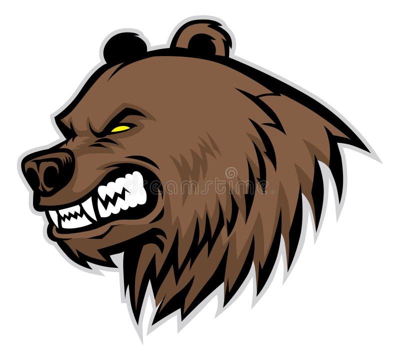 Mascote irritada da cabeça do urso ilustração do vetor