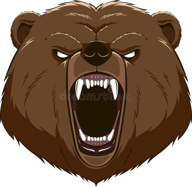 Mascote irritada da cabeça do urso ilustração stock