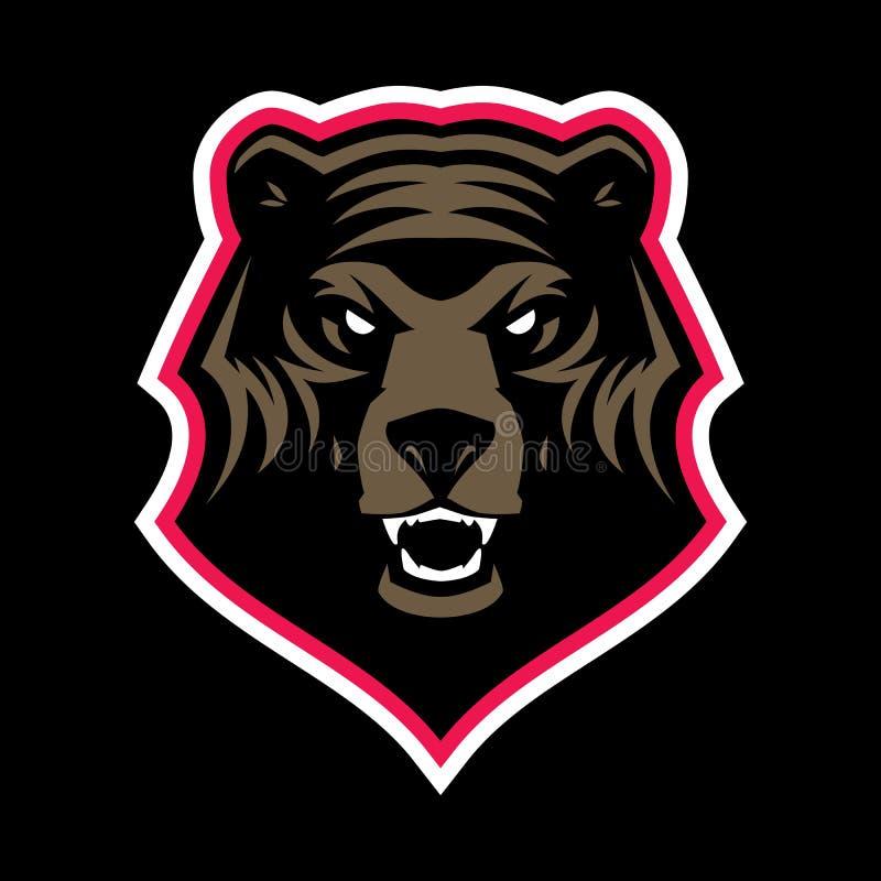 Mascote irritada da cabeça do urso pardo ilustração royalty free