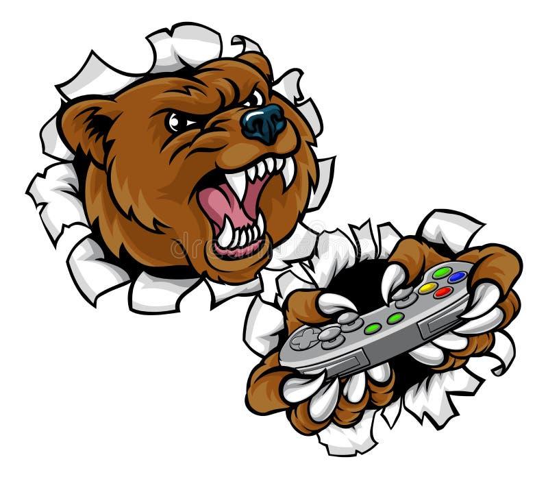 Mascote irritada de Esports do urso ilustração royalty free