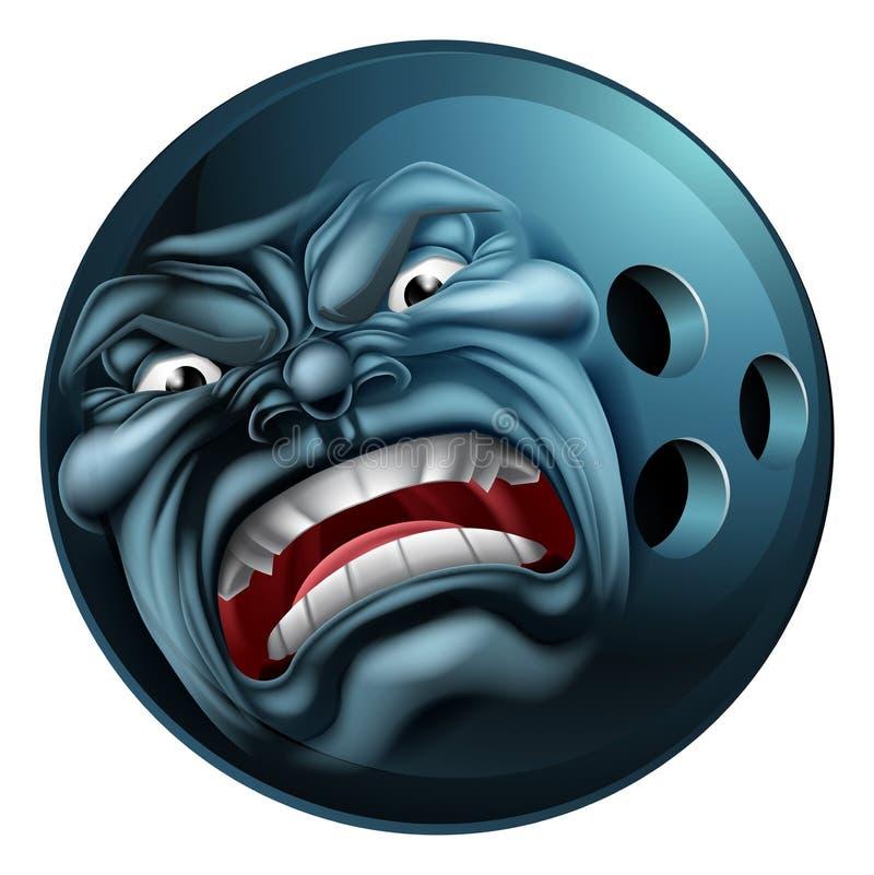 Mascote irritada dos desenhos animados dos esportes da bola de boliches ilustração royalty free