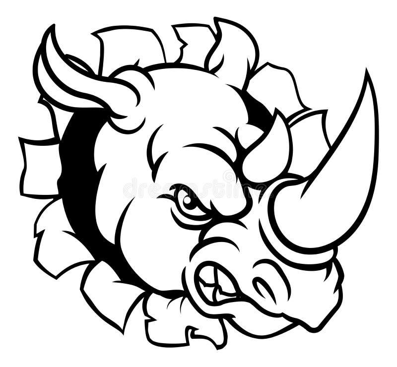 Mascote irritada dos esportes do rinoceronte que quebra o fundo ilustração stock