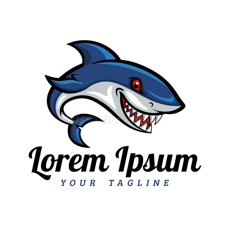 Mascote Logo Template do tubarão dos desenhos animados imagem de stock