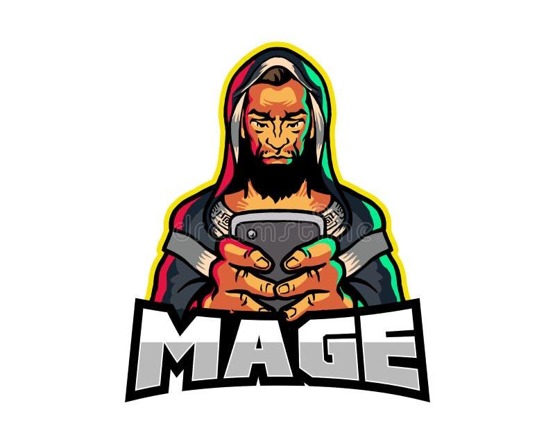 Mascote misteriosa Logo Badge dos desenhos animados do jogo do telefone celular da terra arrendada de Mage ilustração royalty free