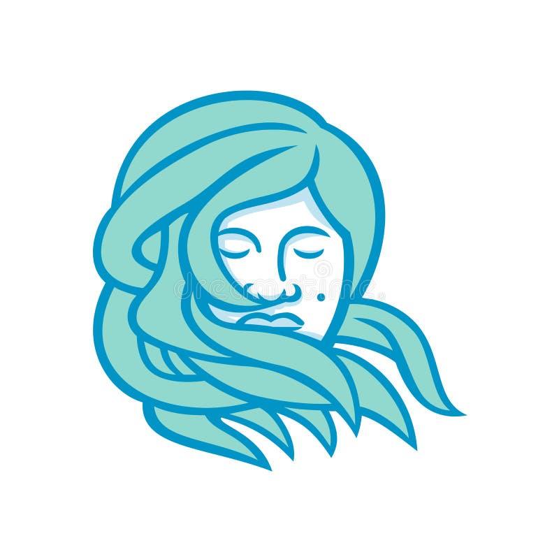 Mascote polinésia do cabelo do fluxo da mulher ilustração do vetor
