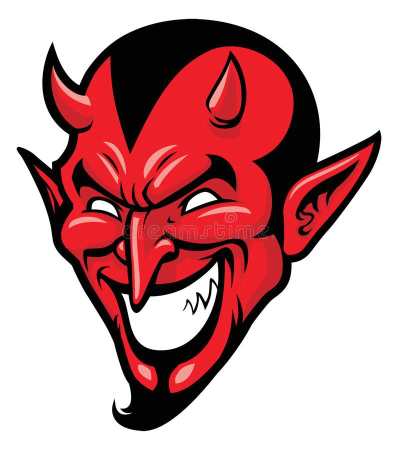Mascote principal do diabo ilustração stock