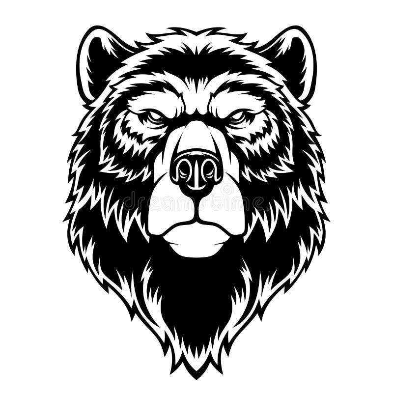 Mascote principal do urso ilustração stock