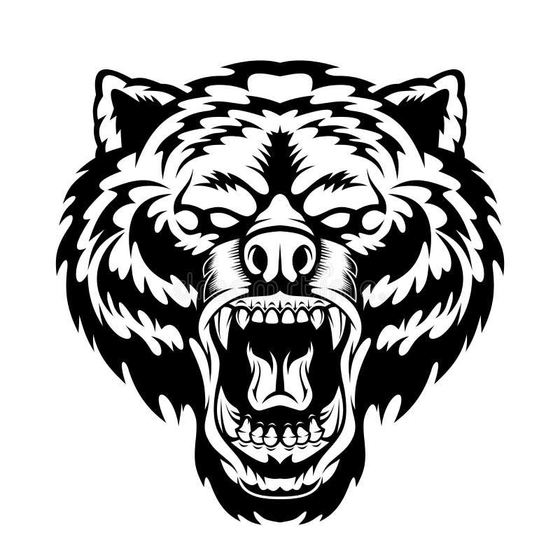 Mascote principal do urso rujir ilustração royalty free