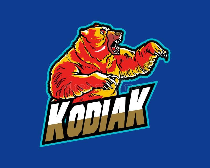 Mascote principal furioso Logo Badge dos desenhos animados do urso de Kodiak ilustração do vetor