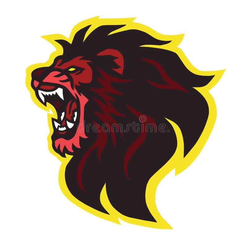 Mascote rujir Lion Head Logo Design Vetora ilustração do vetor