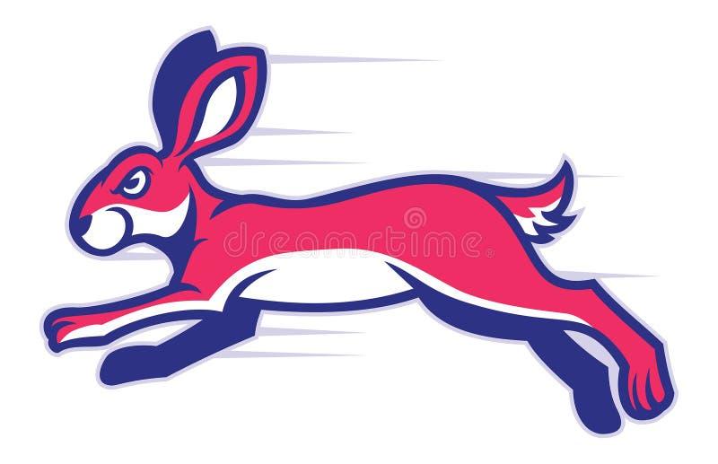 Mascote running do coelho ilustração stock