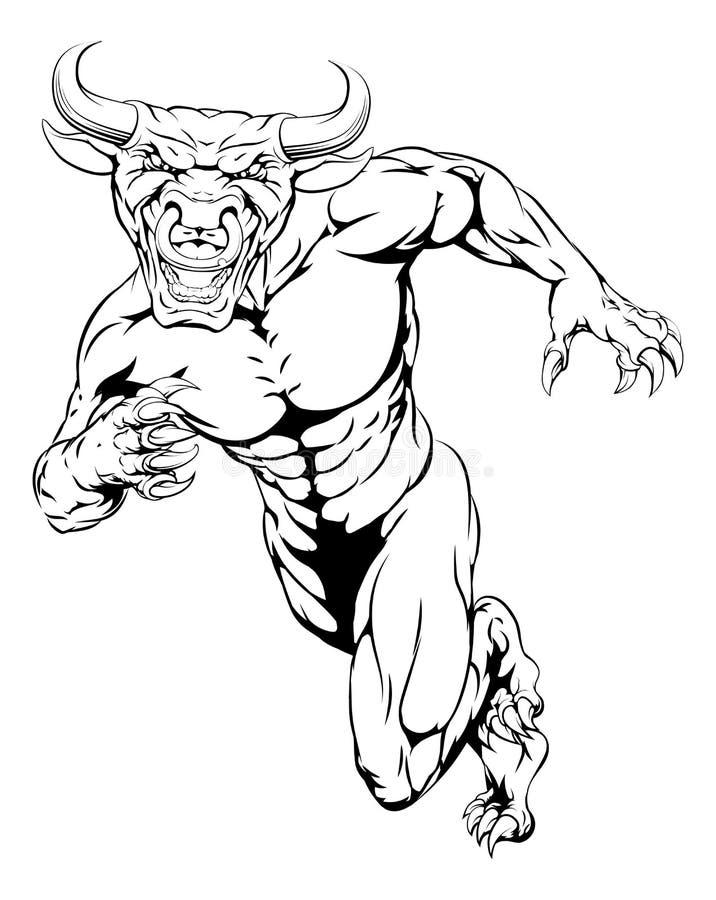 Mascote running do touro ilustração royalty free