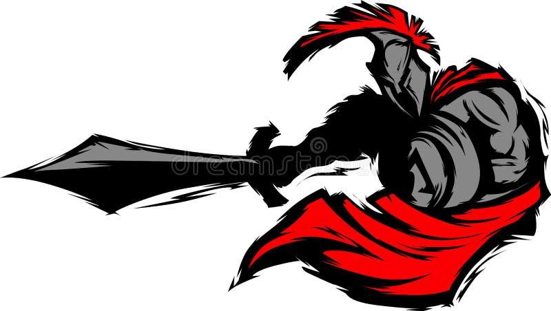 Mascote Trojan espartano da silhueta com espada ilustração do vetor
