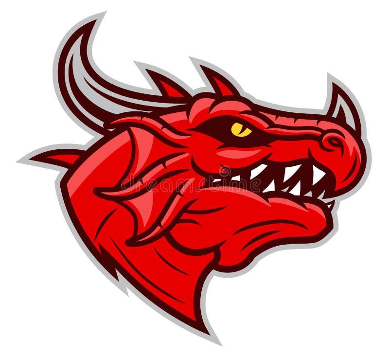 Mascote vermelha da cabeça do dragão ilustração royalty free