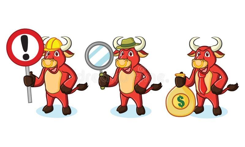 Mascote vermelha de Bull com dinheiro ilustração stock